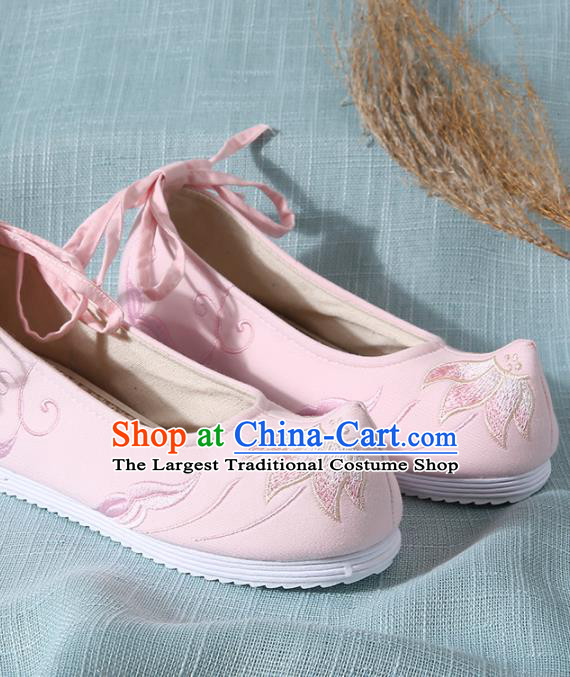 Chinese Handmade Embroidered Lotus Pink Cloth Shoes Traditional Hanfu Shoes National Shoes for Women