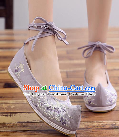 Chinese Handmade Opera Embroidered Purple Cloth Shoes Traditional Hanfu Shoes National Shoes for Women