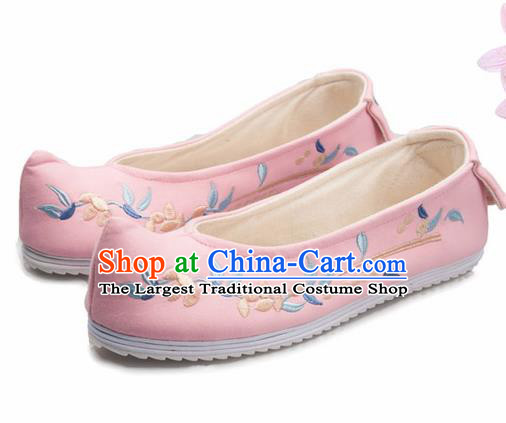 Chinese Handmade Opera Embroidered Pink Bow Shoes Traditional Hanfu Shoes National Shoes for Women