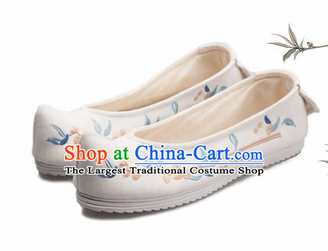 Chinese Handmade Opera Embroidered White Bow Shoes Traditional Hanfu Shoes National Shoes for Women