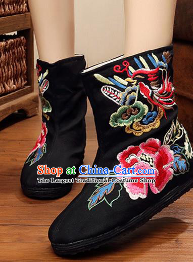 Chinese Handmade Embroidered Peony Black Boots Traditional Hanfu Shoes National Shoes for Women