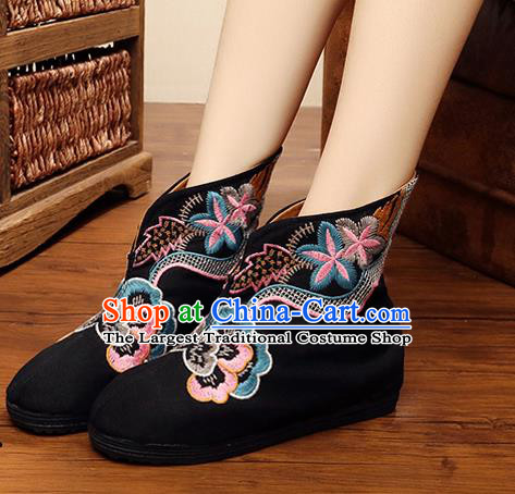 Chinese Handmade Embroidered Black Boots Traditional Hanfu Shoes National Shoes for Women