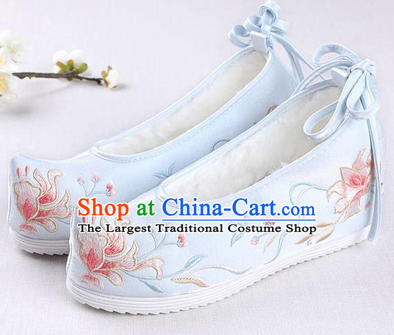 Chinese Handmade Opera Winter Blue Embroidered Shoes Traditional Hanfu Shoes National Shoes for Women
