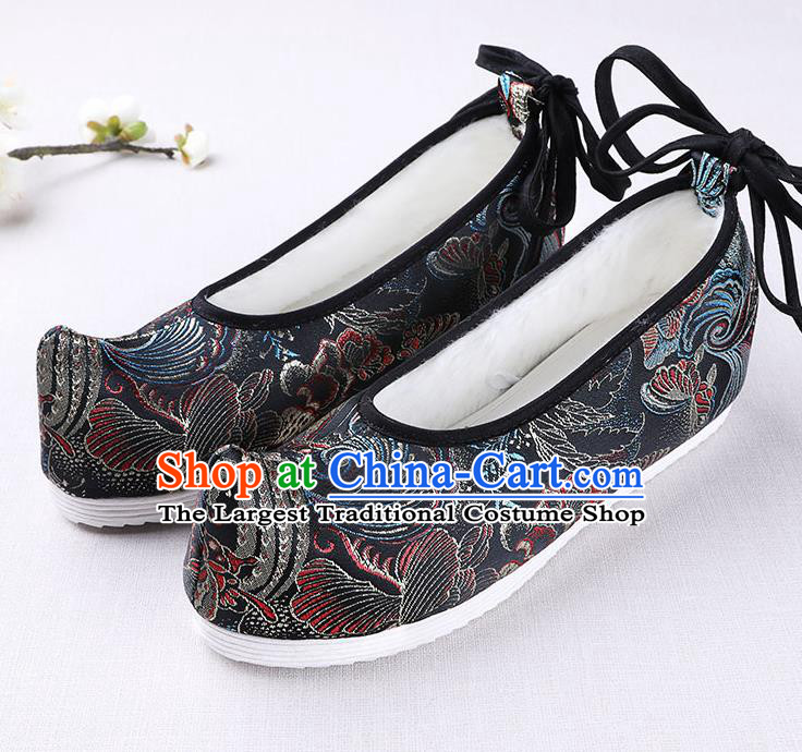 Chinese Handmade Opera Winter Black Satin Shoes Traditional Hanfu Shoes National Shoes for Women