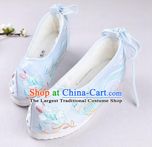 Chinese Handmade Opera Embroidered Phoenix Flower Blue Shoes Traditional Hanfu Shoes National Shoes for Women