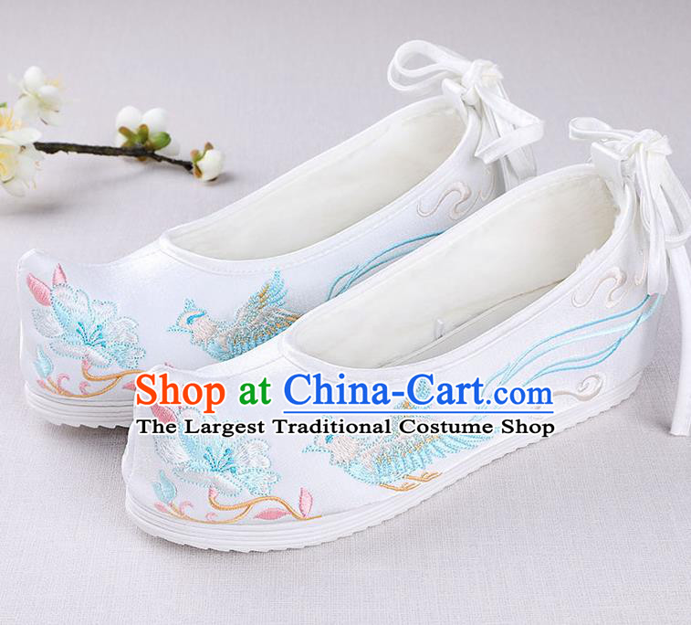 Chinese Handmade Opera Embroidered Phoenix Flower White Shoes Traditional Hanfu Shoes National Shoes for Women