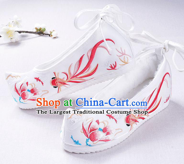 Chinese Handmade Opera Winter Embroidered Goldfish Lotus White Shoes Traditional Hanfu Shoes National Shoes for Women