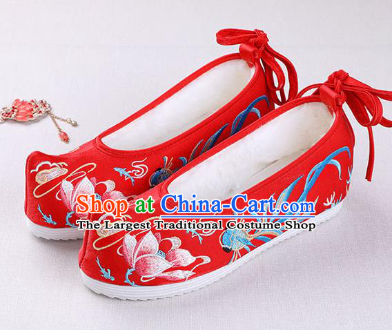 Chinese Handmade Opera Winter Embroidered Goldfish Lotus Red Shoes Traditional Hanfu Shoes National Shoes for Women