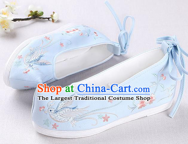 Chinese Handmade Opera Embroidered Pentas Bird Blue Shoes Traditional Hanfu Shoes National Shoes for Women