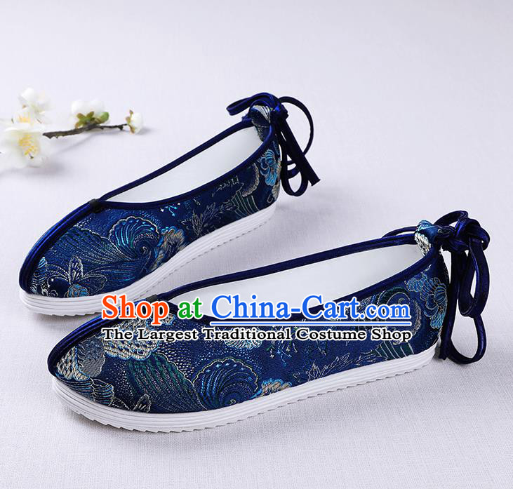 Chinese Handmade Opera Embroidered Royalblue Brocade Shoes Traditional Hanfu Shoes National Shoes for Women