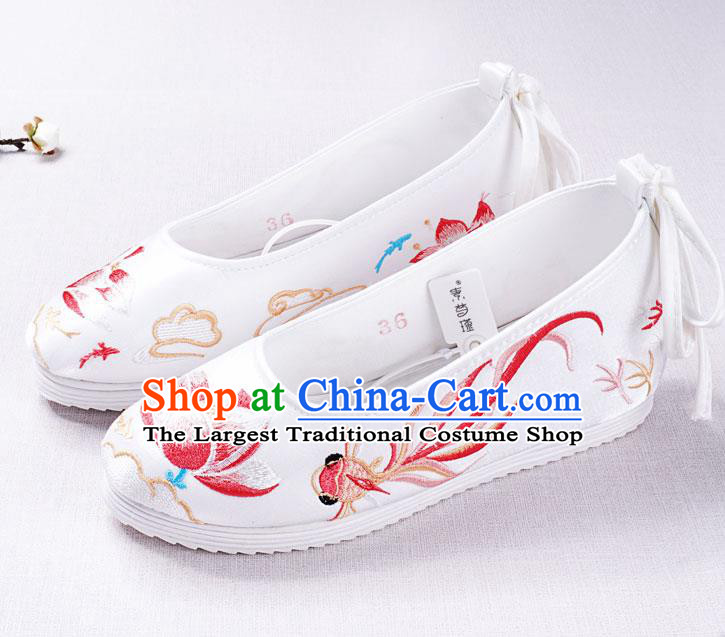 Chinese Handmade Opera Embroidered Lotus Goldfish White Shoes Traditional Hanfu Shoes National Shoes for Women