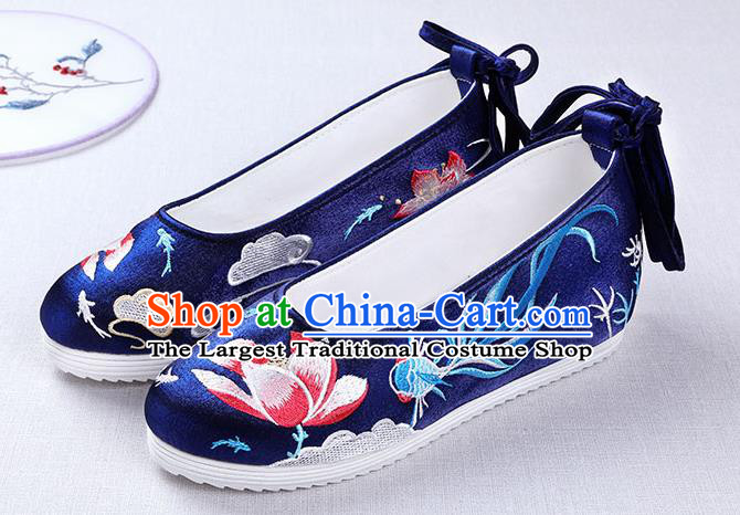 Chinese Handmade Opera Embroidered Lotus Goldfish Royalblue Shoes Traditional Hanfu Shoes National Shoes for Women