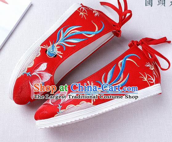 Chinese Handmade Opera Embroidered Lotus Goldfish Red Shoes Traditional Hanfu Shoes National Shoes for Women