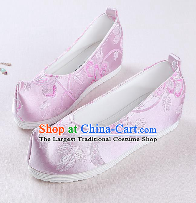 Chinese Handmade Opera Pink Brocade Shoes Traditional Hanfu Shoes National Shoes for Women