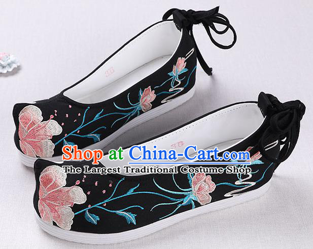 Chinese Handmade Opera Embroidered Black Shoes Traditional Hanfu Shoes National Shoes for Women