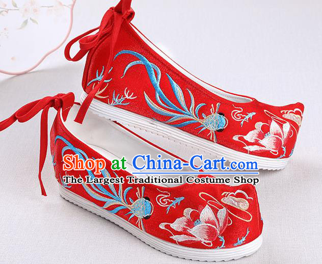 Chinese Handmade Opera Embroidered Lotus Goldfish Red Bow Shoes Traditional Hanfu Shoes National Shoes for Women