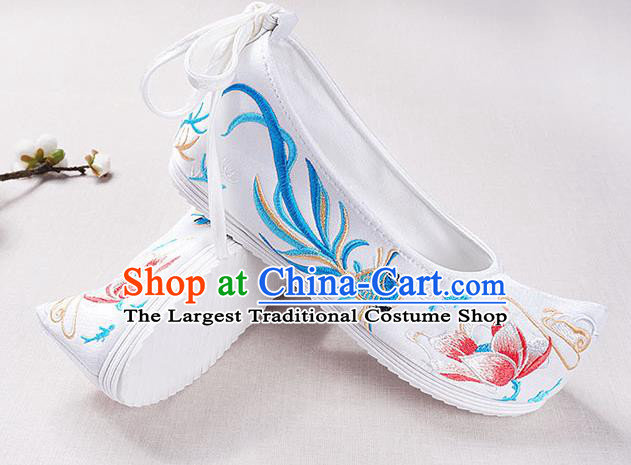 Chinese Handmade Opera Embroidered Lotus Goldfish White Bow Shoes Traditional Hanfu Shoes National Shoes for Women
