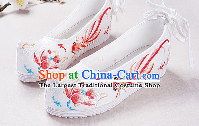 Chinese Handmade Opera Embroidered Lotus Red Goldfish Bow Shoes Traditional Hanfu Shoes National Shoes for Women