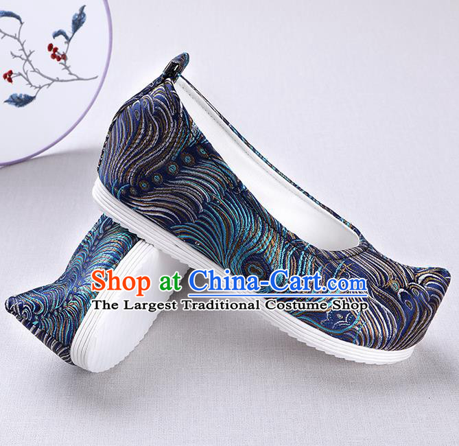 Chinese Handmade Opera Embroidered Royalblue Brocade Bow Shoes Traditional Hanfu Shoes National Shoes for Women