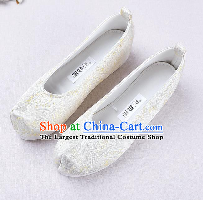 Chinese Handmade Opera Embroidered White Brocade Bow Shoes Traditional Hanfu Shoes National Shoes for Women