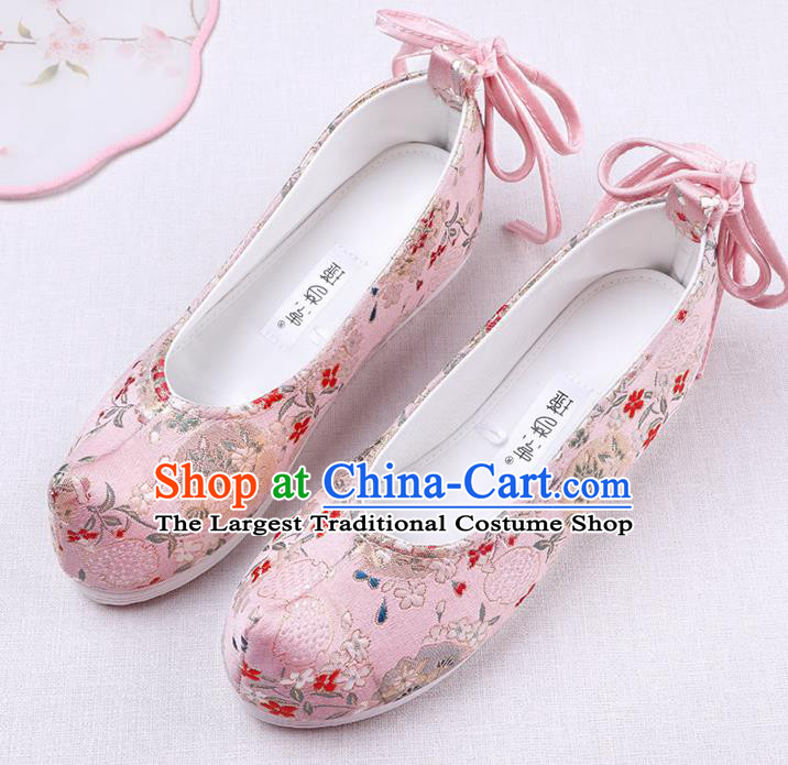 Chinese Handmade Opera Embroidered Pink Brocade Bow Shoes Traditional Hanfu Shoes National Shoes for Women