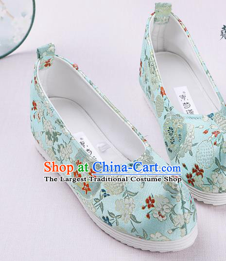 Chinese Handmade Opera Embroidered Green Brocade Bow Shoes Traditional Hanfu Shoes National Shoes for Women