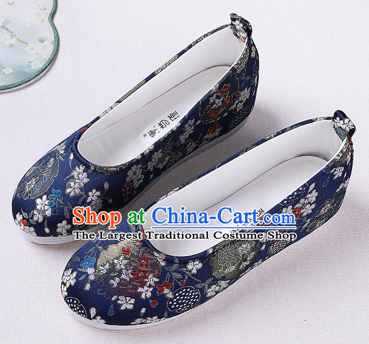 Chinese Handmade Opera Royalblue Brocade Shoes Traditional Hanfu Shoes National Shoes for Women