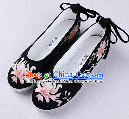 Chinese Handmade Embroidered Flower Black Opera Shoes Traditional Hanfu Shoes National Shoes for Women