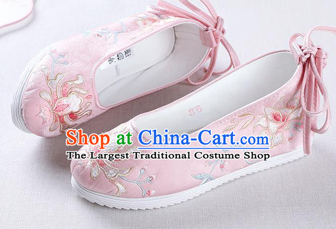 Chinese Handmade Embroidered Flower Pink Opera Shoes Traditional Hanfu Shoes National Shoes for Women