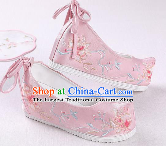 Chinese Handmade Embroidered Pink Opera Shoes Traditional Hanfu Shoes National Shoes for Women