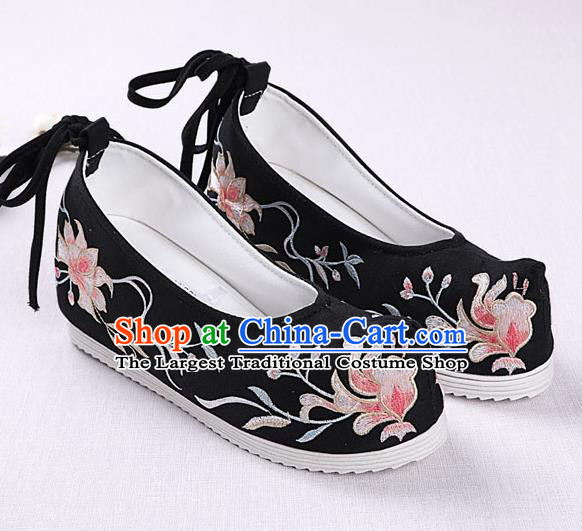 Chinese Handmade Embroidered Black Opera Shoes Traditional Hanfu Shoes National Shoes for Women