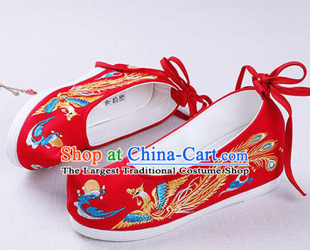 Chinese Handmade Embroidered Phoenix Red Opera Shoes Traditional Hanfu Shoes National Shoes for Women