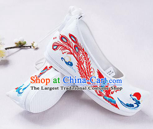 Chinese Handmade Embroidered Phoenix White Opera Shoes Traditional Hanfu Shoes National Shoes for Women