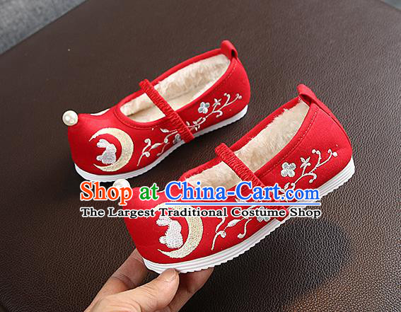 Chinese Handmade Embroidered Old Beijing Red Shoes Traditional Hanfu Shoes National Shoes for Kids
