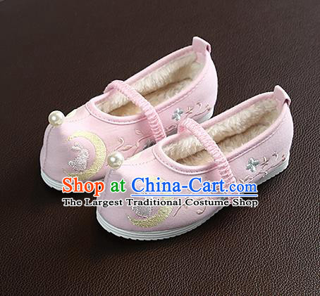 Chinese Handmade Embroidered Old Beijing Pink Shoes Traditional Hanfu Shoes National Shoes for Kids
