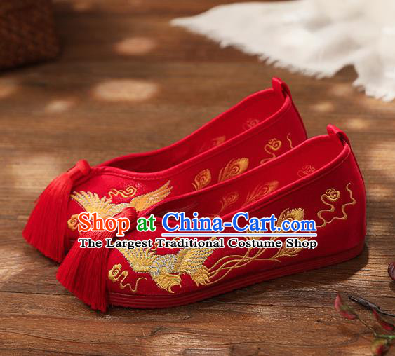 Chinese Handmade Embroidered Golden Phoenix Red Shoes Traditional Hanfu Shoes National Shoes for Kids