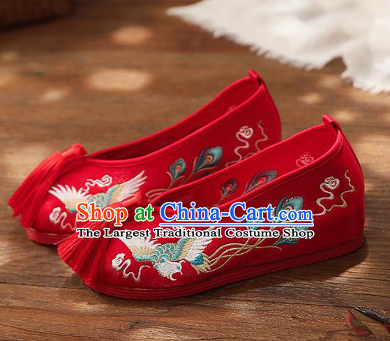 Chinese Handmade Embroidered Phoenix Red Shoes Traditional Hanfu Shoes National Shoes for Kids