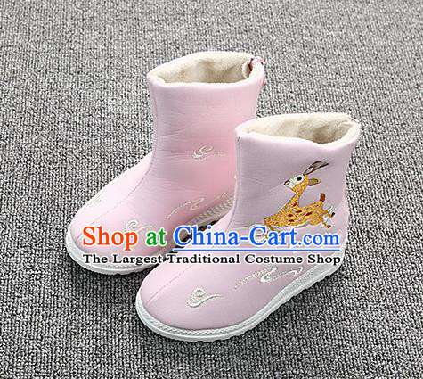 Chinese Handmade Winter Embroidered Deer Pink Boots Traditional Hanfu Shoes National Shoes for Kids