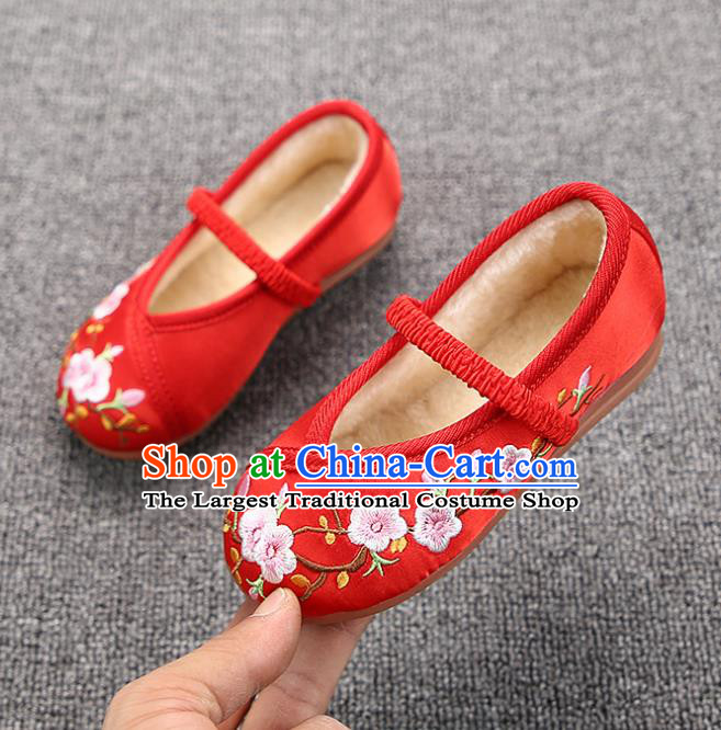 Chinese Handmade Embroidered Red Satin Shoes Traditional Hanfu Shoes National Shoes for Kids