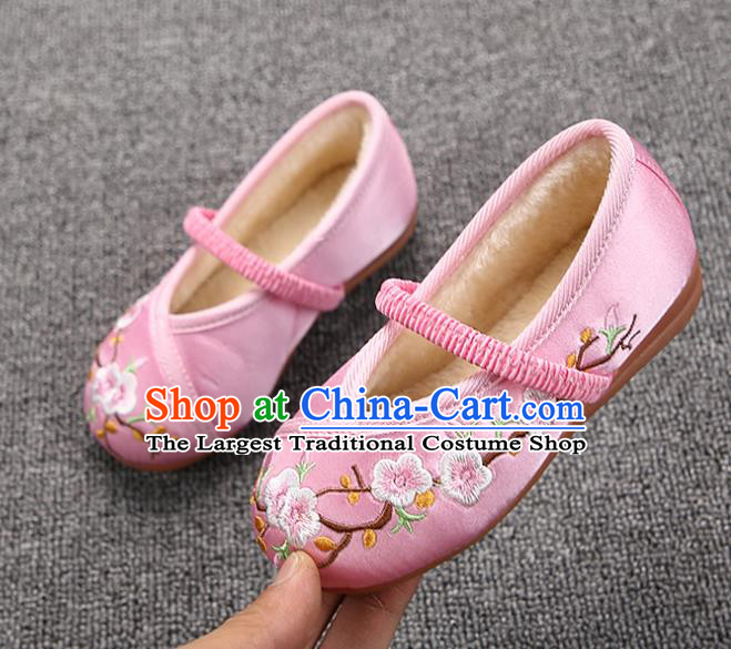 Chinese Handmade Embroidered Pink Satin Shoes Traditional Hanfu Shoes National Shoes for Kids