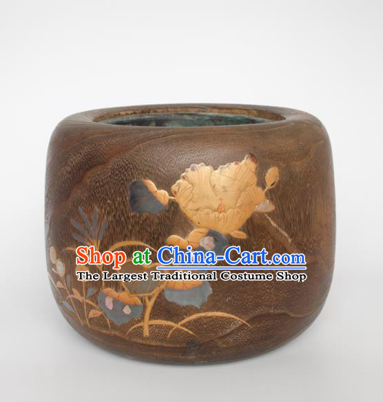 Chinese Handmade Wood Carving Earthen Bowl Traditional Paulownia Craft