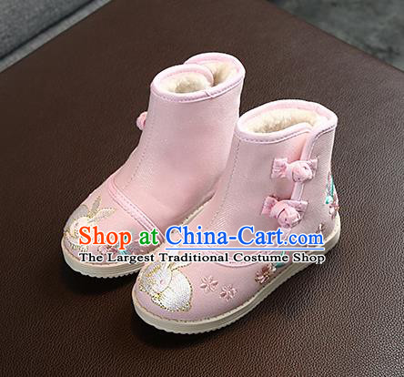 Chinese Handmade Winter Embroidered Pink Boots Traditional Hanfu Shoes National Shoes for Kids