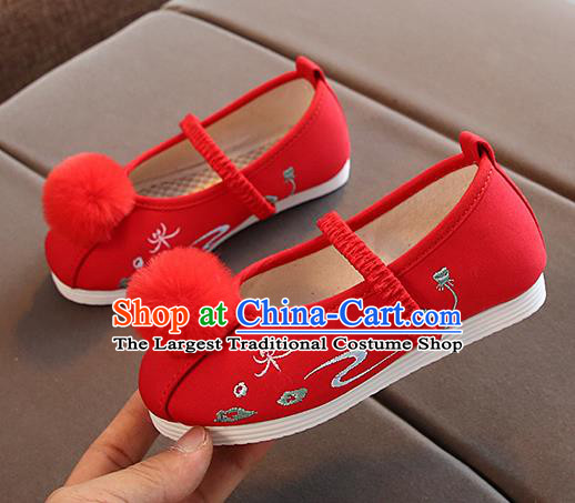 Chinese Handmade Red Embroidered Shoes Traditional New Year Hanfu Shoes National Shoes for Kids