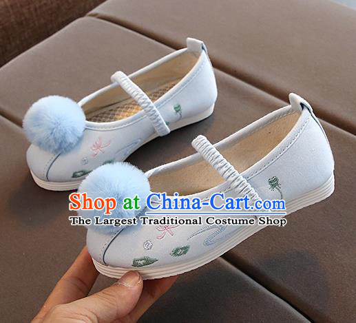 Chinese Handmade Light Blue Embroidered Shoes Traditional New Year Hanfu Shoes National Shoes for Kids