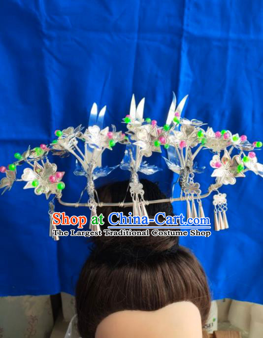 Chinese Traditional Handmade Miao Nationality Birds Hairpins Ethnic Wedding Hair Accessories for Women