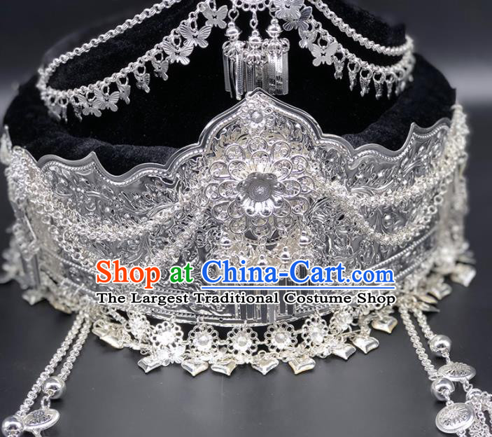Chinese Traditional Handmade Miao Nationality Hat Ethnic Wedding Hair Accessories for Women