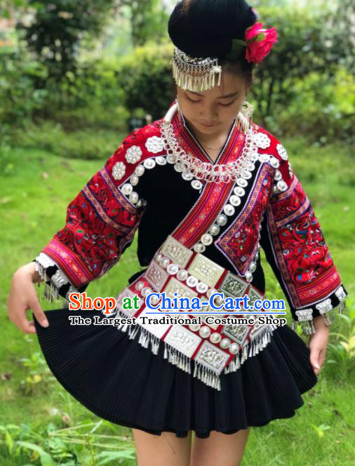 Chinese Traditional Miao Nationality Embroidered Costume Ethnic Folk Dance Dress for Women