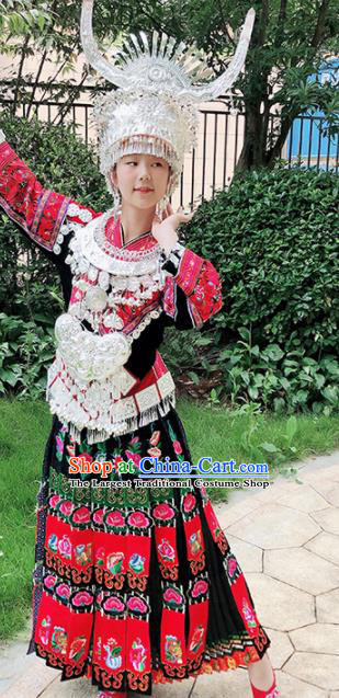 Chinese Traditional Miao Nationality Embroidered Red Costume Ethnic Folk Dance Dress for Women