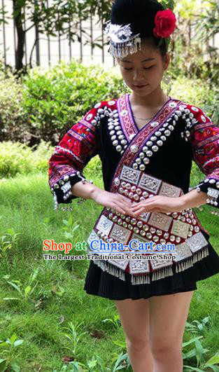Chinese Traditional Miao Nationality Embroidered Costume Ethnic Folk Dance Black Short Dress for Women