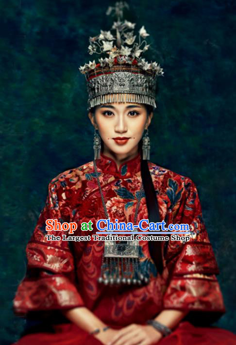 Chinese Traditional Handmade Miao Nationality Bride Hat Ethnic Wedding Hair Accessories for Women